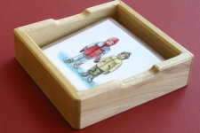 Small Wooden Tray with raised card rest